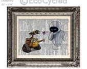 SALE Wall-E & Eve 4 plain on Vintage Upcycled Dictionary Art Print Book Art Print Anniversary Wedding Robot Art Sci Fi Science Fiction sci f