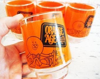 Retro Orange age Bourbon tumblers set of four ,ancient age bourbon advertising memorabilia mod bar decor