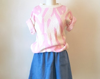 Vintage Pink and White Pattern Sweater