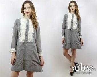 Vintage 70s Grey Tuxedo Mini Dress M Tuxedo Dress Grey Dress Gray Dress Lace Dress Party Dress 1970s Dress 70s Dress