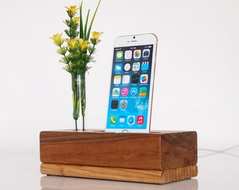 Wooden iPhone Dock - iPod Touch Dock - vase holder - black walnut - unique design