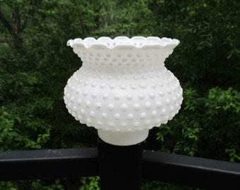 Vintage Milk Glass Hobnail Scalloped Top Hurricane Lamp Shade