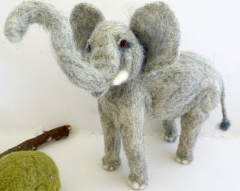 Needle felted African Elephant grey soft sculpture animal lovers art nursery decor unique gift
