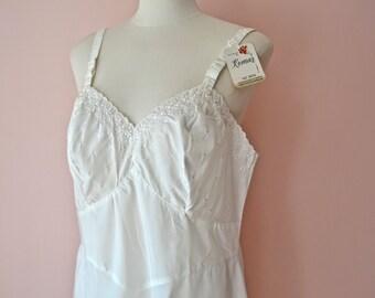 New Old 1960's 1970's White Komar Full Slip Dress.  White Eyelet Taffeta. Modern Plus Size Large XL - VL382