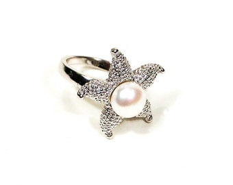 Starfish, Pearl, Sterling Silver Ring, Size 7