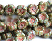 Picasso Flower beads, Rustic Green Brown, daisy beads, czech pressed glass flowers - 8mm - 12pc - 2615