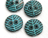 2pc Round Metal Buttons, Verdigris patina on copper, rustic greek casting beads, Lead Free - F388