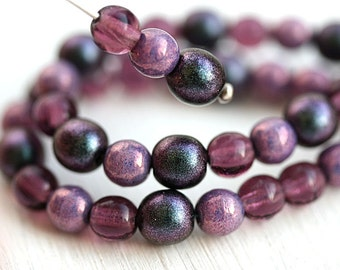 Purple Pink beads mix, czech glass small spacers, round, druk, 5mm, 6mm - 10gramm - 0450