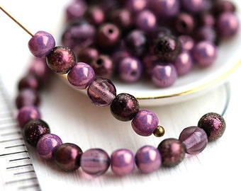 4mm Purple Pink beads mix, Czech glass beads, round spacers, druk, small beads - about 80pc - 0434