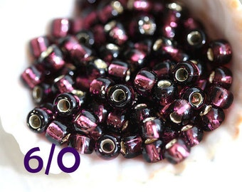 TOHO Seed beads, size 6/0,  Silver-Lined Amethyst, N 26C, purple, round, japanese glass - 10g - S366