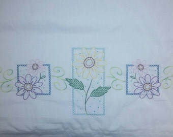 Floral embroidered pillowcase