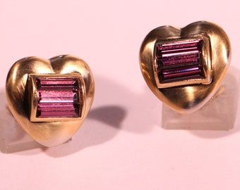 Vintage 80s Vermeil Heart Earrings Rhinestones Clip On Stamped European Jewelry Gorgeous Gift For Her