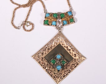 DIOR 70s  Gold Tone Pendant Necklace Extra Large Pendant Sophisticated Richly Detailed Dior Germany 1973 High End Diors High Fashion Jewelry