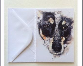 Art Card - Dog - Australian Dog - Pet - Puppy - Lilly © Kylie Fogarty - Canberra  - Fine Art Card - Birthday - Congratulations Card