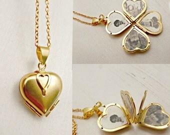 Family Tree Vintage Lucky Clover Heart 4 Photo Locket