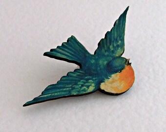 Blue Bird Brooch .. bird brooch, bird jewellery, wooden brooch, bird illustration