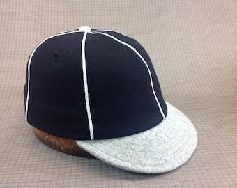 Soft 100% wool flannel 6 panel black cap with white soutache, vintage 1910s visor with cotton sweatband.