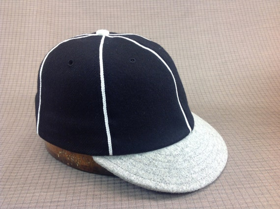 Soft 100% wool flannel 6 panel black cap with white soutache, vintage 1910s visor with cotton sweatband.