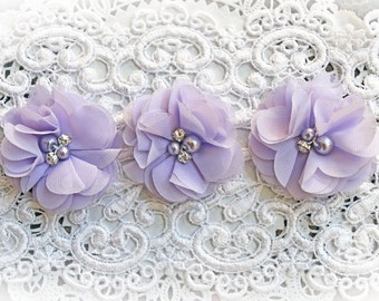Reneabouquets Flower Set -Shabby Chic Colors - Lavender Herb Pearl And Rhinestone Flowers
