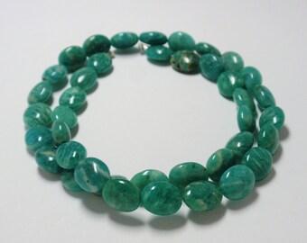 "Green Russian Amazonite Oval Beads, 10x8"" Russian Amazonite Beads, 15 1/2"" Strand - 40 Beads"