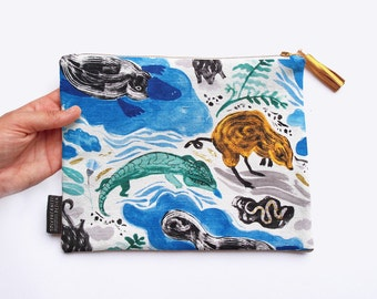 Special Edition Togetherness Design x Melbourne Museum Illustrated Clutch Purse with Gold Foil Detail