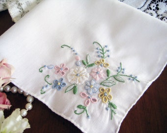 Vintage Handkerchief Pastel Flowers, Applique, Shadow Work, Hand Embroidery