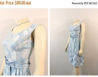 CLOTHING SALE Vintage Dress 1960s 60s Sky Blue Baby Blue Semi Formal Dress Floral Brocade Satin Bow & Waist Modern XXS - Xs