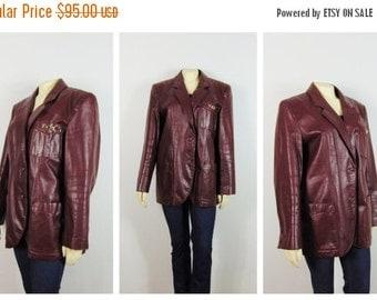 CLOTHING SALE Vintage Leather Coat Etienne Aigner Leather Jacket Burgundy Blazer Size 18 Modern Size XL 1X