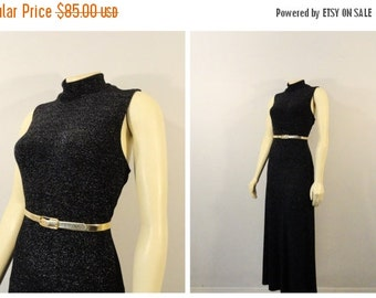 SALE Vintage Dress 90s Shimmering Black Sleeveless Mock Turtleneck Stretch Knit Fill Length A Line Super Stretchy fits M L XL