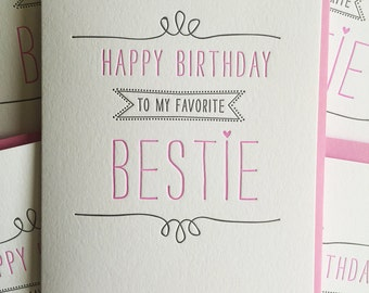 Birthday card for Best Friend Card - Best Friend Birthday Card  - Letterpress Birthday Card for BFF, Bestie, Girlfriend, DeLuce Design