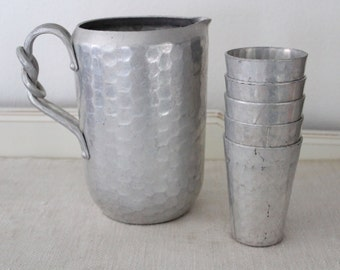 Vintage World Hand Forged Silver Aluminum Pitcher and Set of 5 Cups