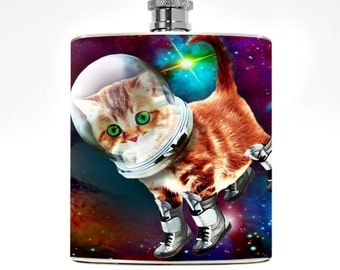 Space Kitten Flask Drinking Gift Womens Flask Hipster Girl Hip FlaskBirthday Kitty Accessories Funny Flask Cat lover Cat Space Cat Spaceship