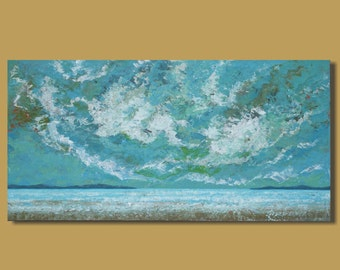 FREE SHIP abstract seascape painting, panoramic seascape, beach painting, turquoise blue, horizontal, clouds, ocean landscape, 18x36