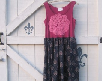Rustic gypsy dress, M, blue floral hippie, Gypsy dress, Sundress spring summer, pink blue flora, upcycled eco fashion