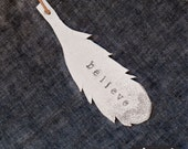 BELIEVE FEATHER ORNAMENT - ceramic and silver glitter, natural leather by july supply - holiday home decor gift topper