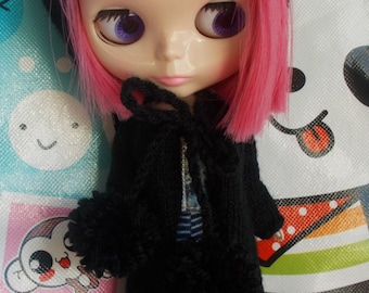 Handmade hooded  cardigan with pom pom for blythe, available in many colors