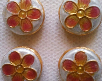 4 Beads - Cloisonne Flower Coin Beads