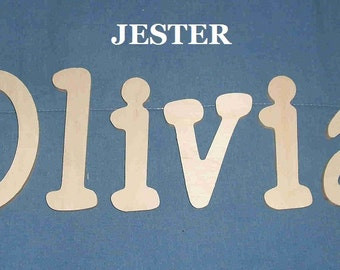 "SALE :) Wall Letters - Unpainted Wood - Jester - plus other Fonts - Gifts and Decor for Nursery, Home, Playrooms, Dorms - 10"" Size"