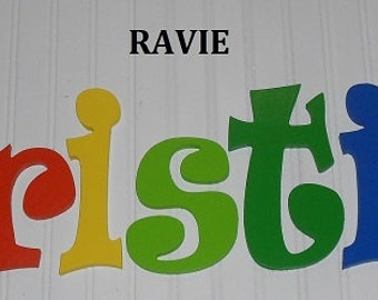 "SALE :) Wall Letters - Painted Wood - Ravie - plus other Fonts - Gifts and Decor for Nursery, Home, Playrooms, Dorms - 10"" Size"