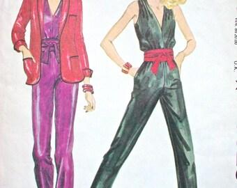 "McCalls Dress Pattern No 6829 UNCUT Vintage 1970s Size 10 Bust 32 1/2"" XS Sleeveless Jumpsuit Tapered Legs V Neckline Long Sleeve Jacket"