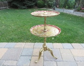 Vintage Florentine Style Side Table - Red Gold Florentine Tiered Small Table