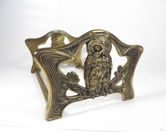 Vintage Adjustable Brass Owl Book Rack - Brass Owl Book Stand