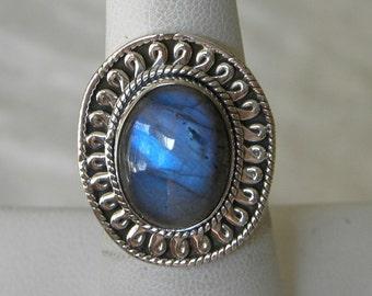 Labradorite Ring Handmade Ring 16x12mm Blue Labradorite Gemstone Ring Sterling Silver Ring Size 6 3/4 Take 20% Off Blue Labradorite Jewelry
