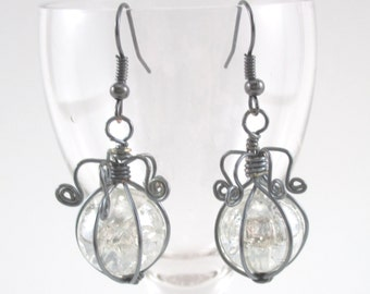 Hematite Wire Wrapped Fried Marble Earrings, Sparkly, Curly Lamp Top