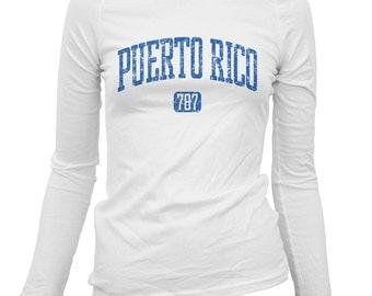 Women's Puerto Rico 787 Long Sleeve Tee - S M L XL 2x - Ladies' Puerto Rico T-shirt - 3 Colors