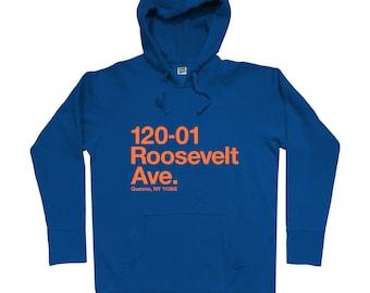 New York Baseball Stadium QNY Hoodie - Men S M L XL 2x 3x - NYC Hoody, Sweatshirt, Queens, Sports, Fan - 3 Colors