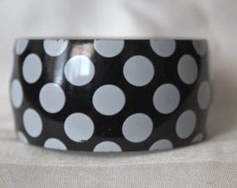 White on Black Polka Dot Bracelet