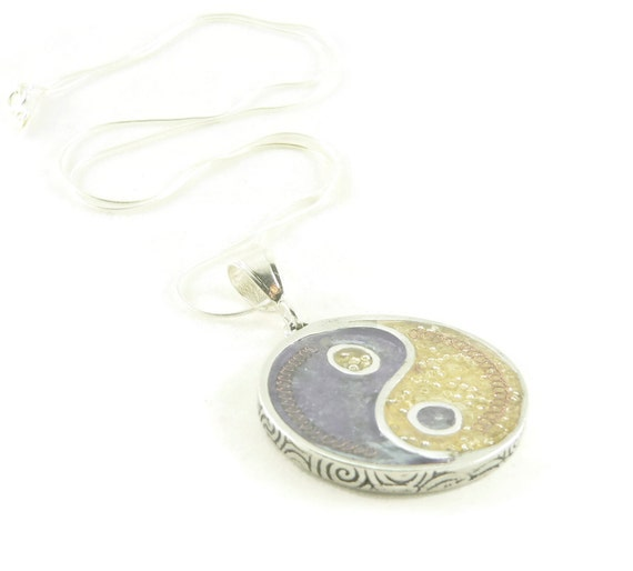 Orgone Energy Pendant Necklace - Large Yin-Yang Pendant with Sterling Silver Chain - Amethyst and Citrine - Orgone Jewelry - Artisan Jewelry