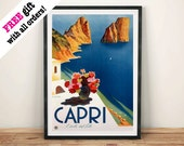 CAPRI TRAVEL POSTER: Vintage włoskie ogłoszenie turystyczne Reprodukcja Reprodukcja ścienna wiszące