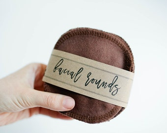 """Facial Rounds - Face Cloth - Make-up Remover - Facial Rounds - 4"""" Face Wipes - Choose your quantity -- BROWN"""